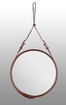 Jaques Adnet Mirror, Spiegel, Lederspiegel