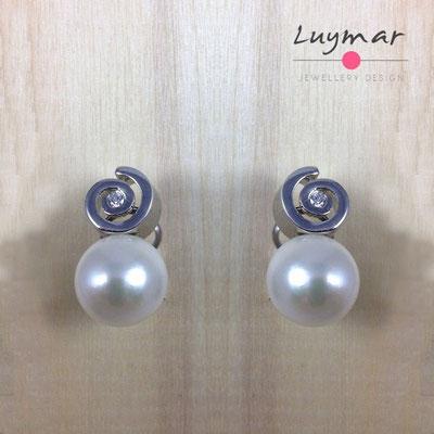 A34105 Pendientes Omega plata perlas Luymar