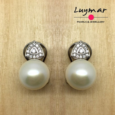 AB0036   Pendientes plata perlas omega  Luymar
