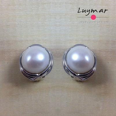 A28894 Pendientes Omega plata perlas Luymar