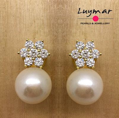 A35117    Pendientes plata perlas omega  Luymar