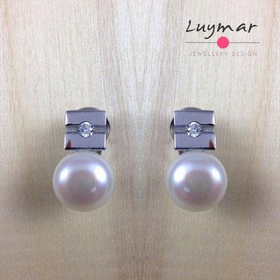A34339 Pendientes Clip plata perlas Luymar