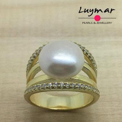 S35061 Sortija plata perlas   Luymar