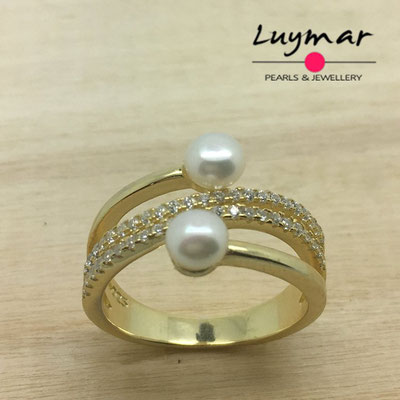 S35068  Sortija plata perlas   Luymar