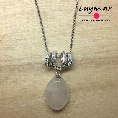 COL-15 colgante plata y cuarzo rosa Luymar