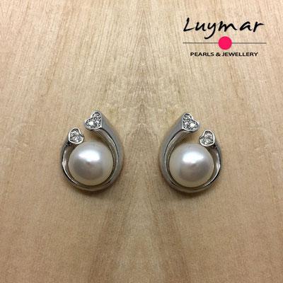 A35113  Pendientes plata perlas presión  Luymar