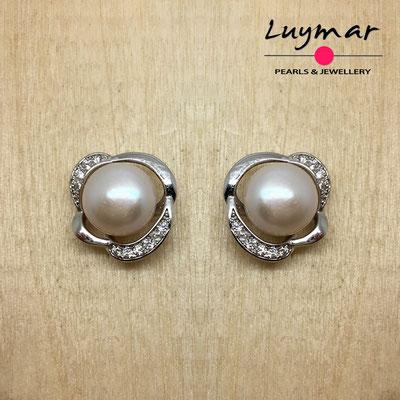 A35066 Pendientes plata perlas presión  Luymar