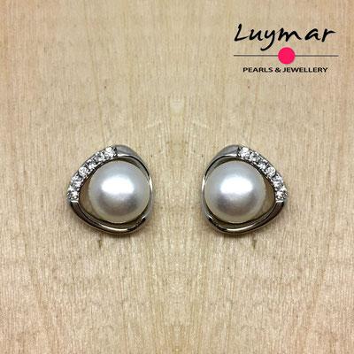 A35100 Pendientes plata perlas presión  Luymar
