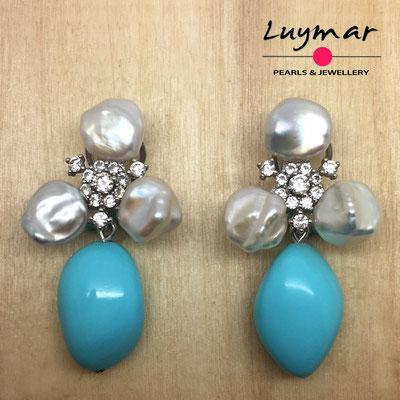 A35157 Pendientes turquesa y perlas keshi Luymar