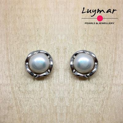 A35067 Pendientes plata perlas presión  Luymar