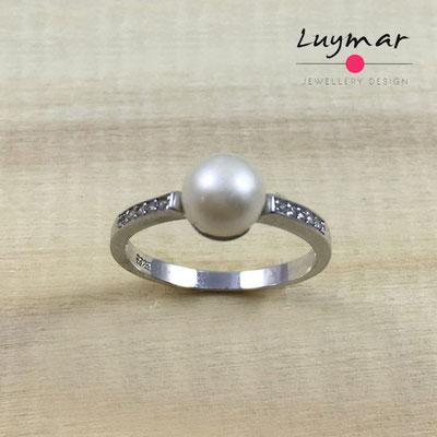 YF3828 Sortija plata perlas Luymar