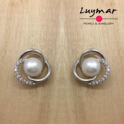 A35065  Pendientes plata perlas presión Luymar