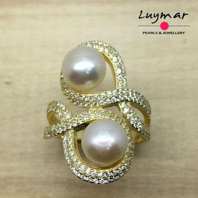 S35074    Sortija plata con perlas Luymar