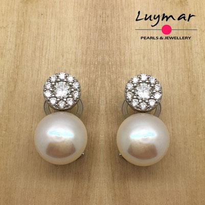 AB10066   Pendientes plata perlas omega  Luymar