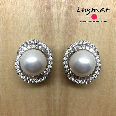 A35106   Pendientes plata perlas omega  Luymar
