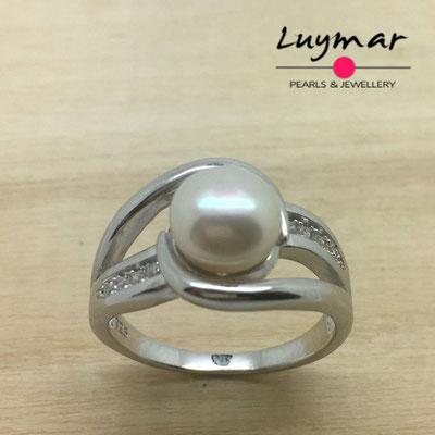 S35063  Sortija plata perlas    Luymar