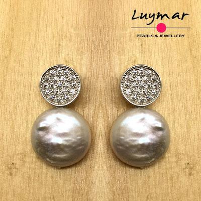 A35249  Pendientes plata y perlas Luymar