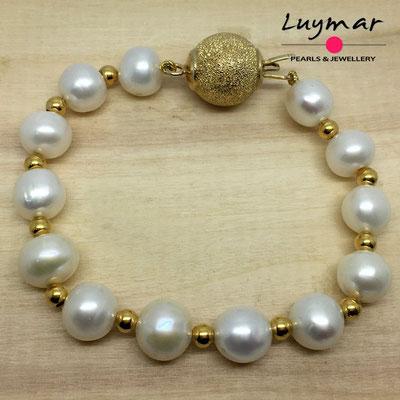 PUL-20    pulsera perlas y plata Luymar