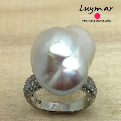 S35234 Sortija plata perlas   Luymar