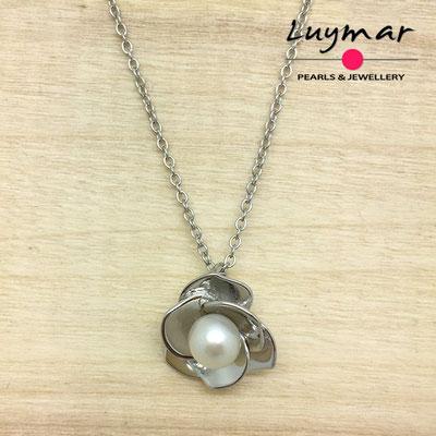 CB001    colgante plata perlas   Luymar