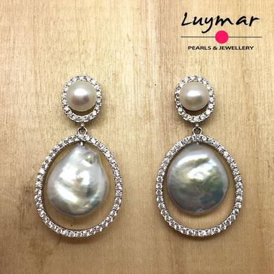 A35150 Pendientes con perlas cultivadas Luymar