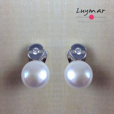 A34342 Pendientes Clip plata perlas Luymar