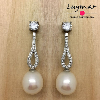 AB403   Pendientes plata perlas novia  Luymar