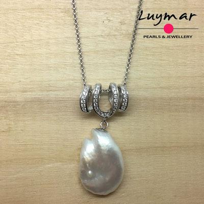 COL-17 Colgante plata y perla keshi Luymar