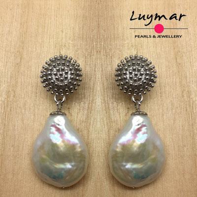 A35133  Pendientes plata perlas novia  Luymar