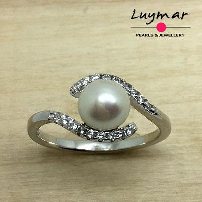 S35200  Sortija plata perlas   Luymar