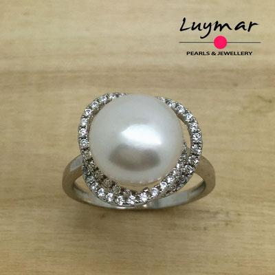 S35139  Sortija plata perlas   Luymar