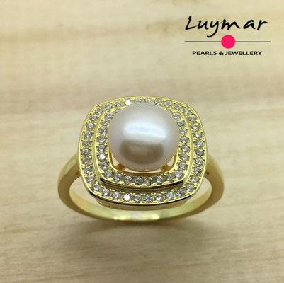 S35109   Sortija plata perlas   Luymar