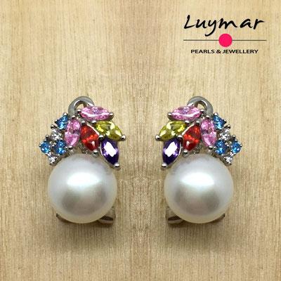 AB178   Pendientes plata perlas omega  Luymar