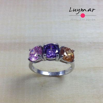 SB382    Sortija plata circonitas Luymar
