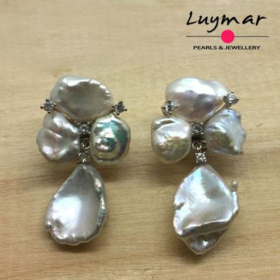 A35145 Pendientes con perlas cultivadas keshi Luymar