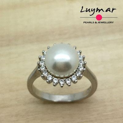 SB011   Sortija plata perlas   Luymar