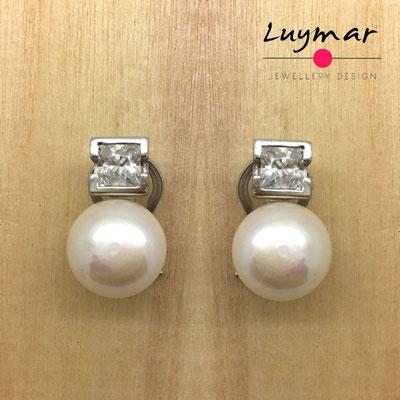 A35057 Pendientes plata perlas  Luymar