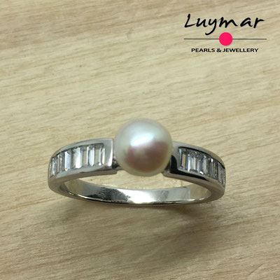 S35222 Sortija plata perlas   Luymar