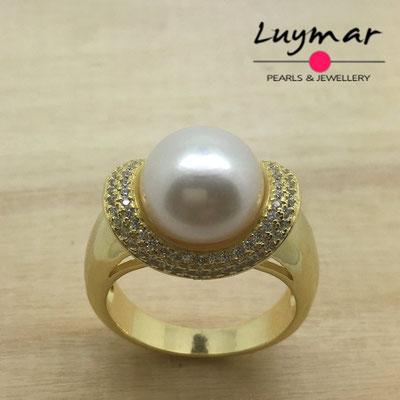 S35062  Sortija plata perlas    Luymar