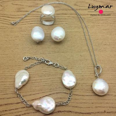 SET-95 collar pulsera perlas plata luymar