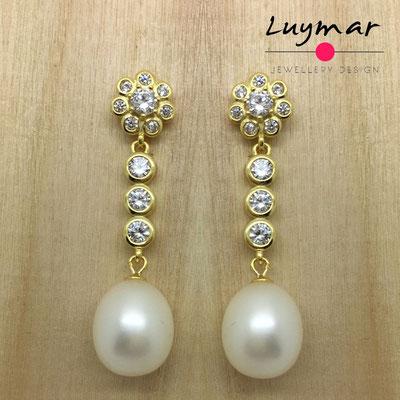 B8118-P  Pendientes plata perlas Luymar