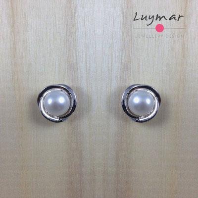 A34827 Pendientes plata perlas presión Luymar