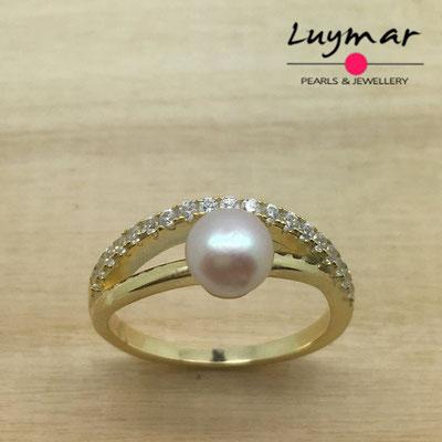 R3650  Sortija plata perlas   Luymar