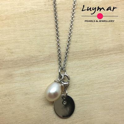 COL-12 colgante plata y perlas cultivadas Luymar