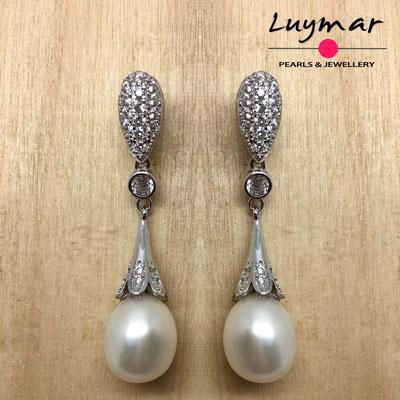 A35210  Pendientes plata y perlas Luymar