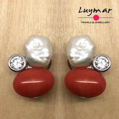 PP-75 Pendientes coral y perlas keshi Luymar