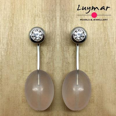 PP-18 Pendientes plata y cuarzo rosa Luymar