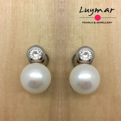 AB10065  Pendientes plata perlas omega  Luymar