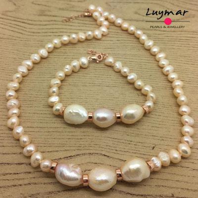 SET-32 collar pulsera perlas plata luymar