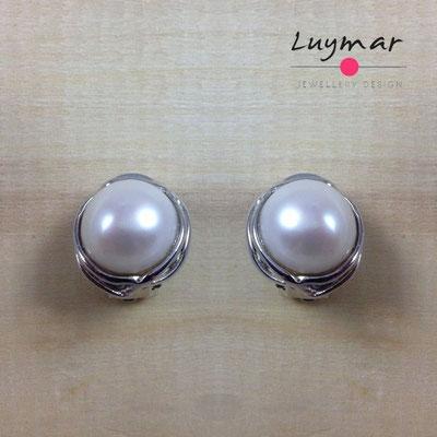 A34349 Pendientes Clip plata perlas Luymar
